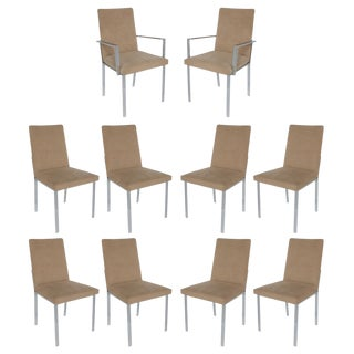 Milo Baughman Style Chrome Dining Chairs - Set of 10