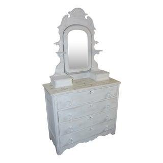 Vintage Shabby Chic White Dresser With Mirror