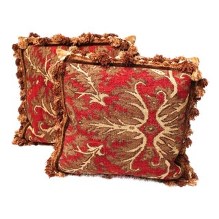 Red Fringed Down Pillows - A Pair
