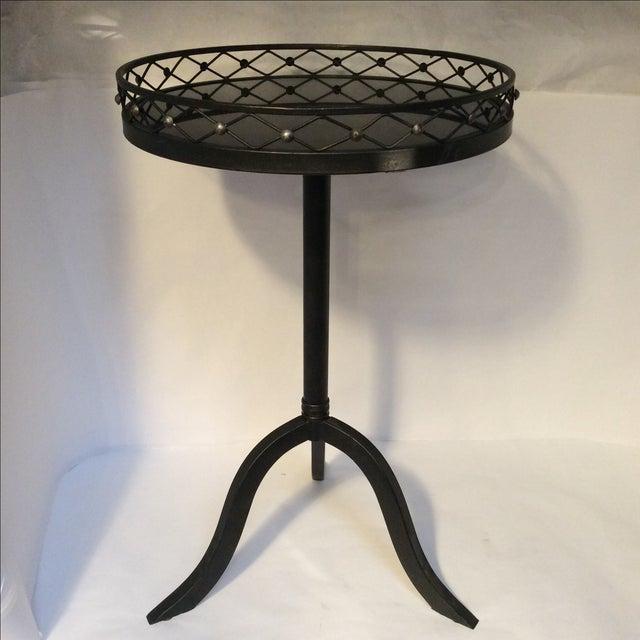 Black Metal Granite Top Side Table - Image 2 of 7