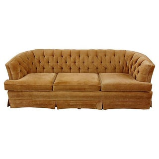 Camel Velvet Tufted Sofa