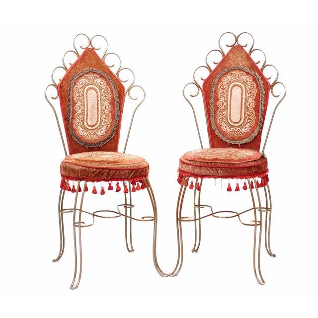 Scrolled Metal Bohemian Vanity Chairs - Pair - Image 1 of 5