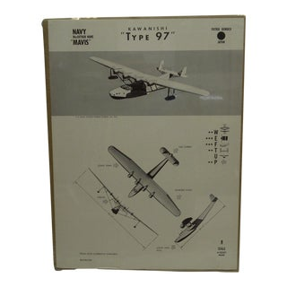 "Vintage ""Kawanishi Type 97"" Wwii Aircraft Recognition Poster, Japan Circa 1943"