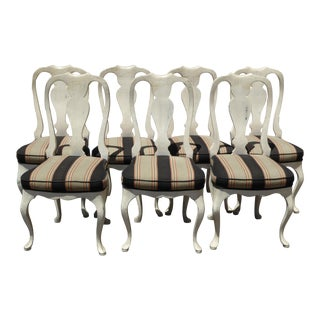 Vintage Queen Anne Style White Distressed Dining Chairs - Set of 7