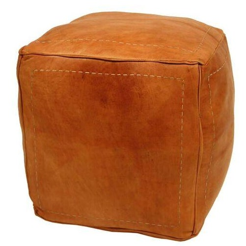 Contemporary Moroccan Tan Leather Pouf Chairish