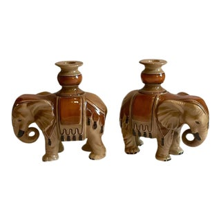 Fitz & Floyd Elephant Candle Holders - A Pair