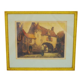 Early 20th Century Village Scene Limited Edition Signed Lithograph
