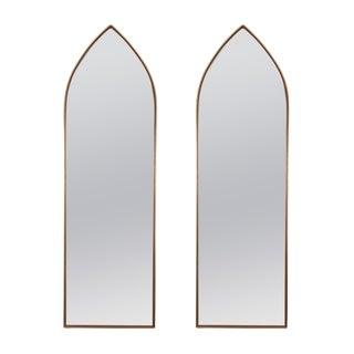 Pair of Teak and Brass Frame Mirrors, Danish 1950s