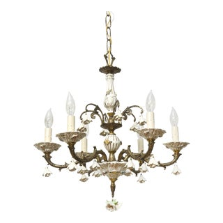 Six Light Italian Porcelain and Brass Chandelier