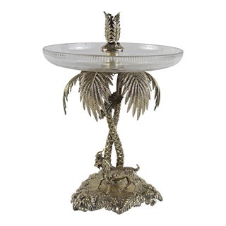 Antique Silver Plate Goat & Palm Trees Detail Epergne