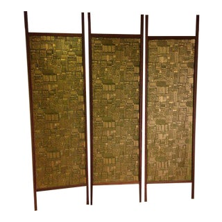 Paul Evans Style Vintage Plexiglass and Teak Panels - Set of 3