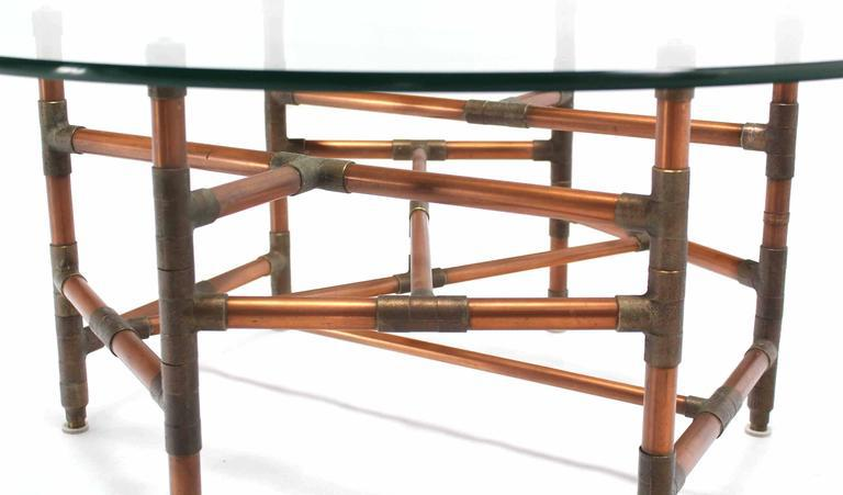 Copper Pipe And Fitting Sculpture Base Round Glass Top Coffee Table   Image  5 Of 6
