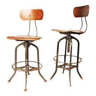Vintage Industrial Toledo UHL Drafting Stools - A Pair
