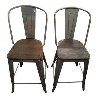 Bistro Gunmetal & Wood Seat Counter Stools - A Pair