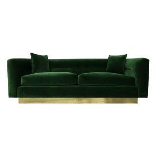 Petite Mid Century Velvet Sofa With Brass Base