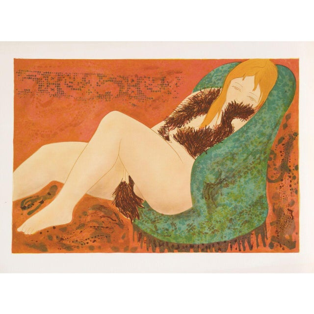 """Alain Bonnefoit, """"Nude in Green Chair,"""" Lithograph - Image 1 of 2"""