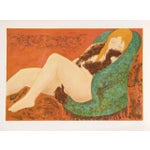 """Image of Alain Bonnefoit, """"Nude in Green Chair,"""" Lithograph"""