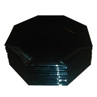 Octagon Black Glass French Plates - Set of 10