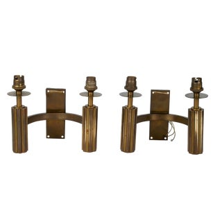 Electrified MCM Brass Wall Sconces - A Pair