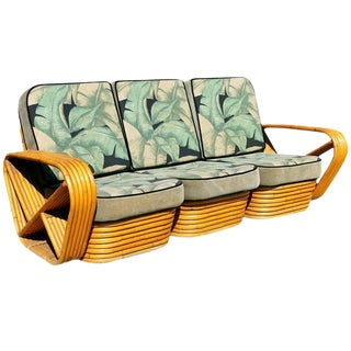 Restored Paul Frankl Style Six Strand Square Pretzel Sofa