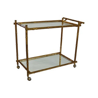 Gilt Faux-Bamboo Bar Cart