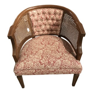 Red Floral Caned Chair