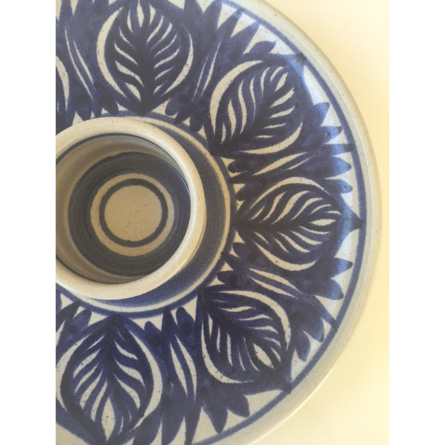 Blue Leaf Painted Stoneware Chip & Dip Serving Dish - Image 8 of 9