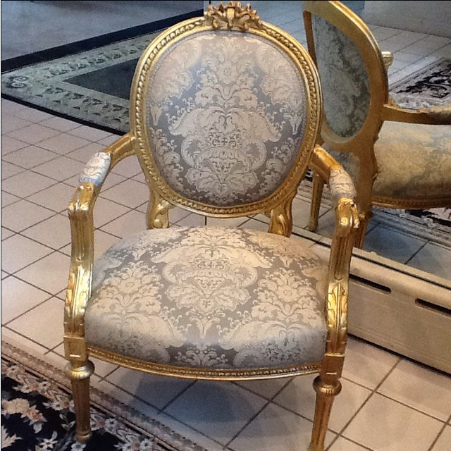 Image of Gold Leaf Neoclassical Chairs - A Pair