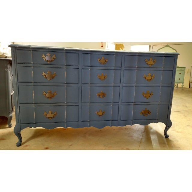 Navy French Provincial Dresser - Image 4 of 6