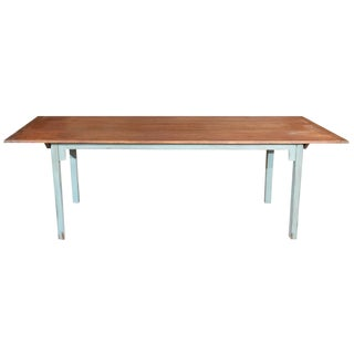 Large Country Dining Table with Blue Legs