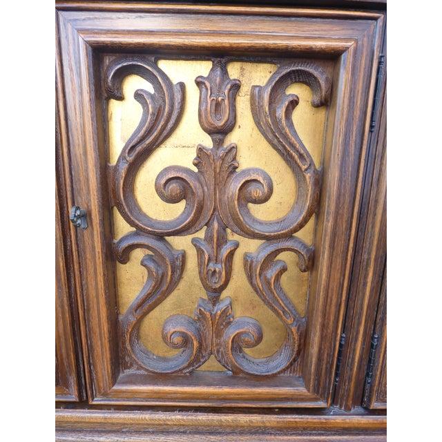 Image of Vintage Spanish Style Ornate Gilt Door Credenza