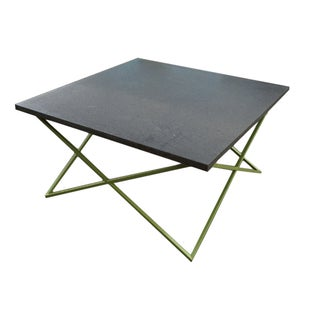 Modern Square Green Steel Based Coffee Table