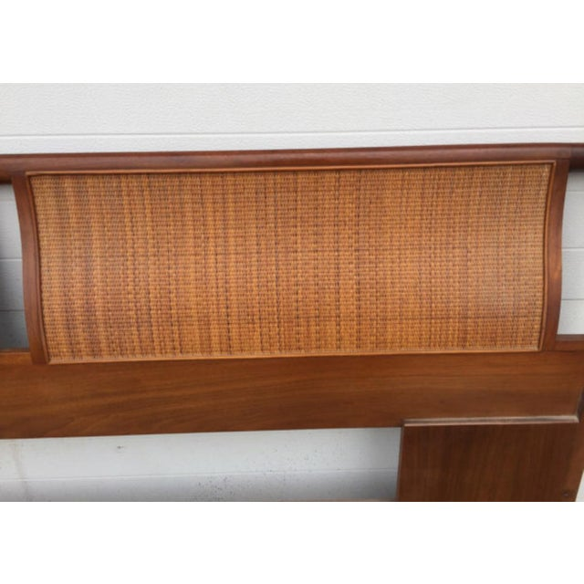 Drexel Mid-Century Walnut & Cane King Size Headboard - Image 5 of 6