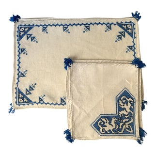 Vintage Blue Hand-Embroidered Placemats and Napkins - Set of 12