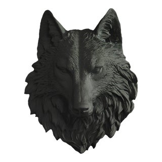 Faux Wolf Head Bust in Black by Wall Charmers