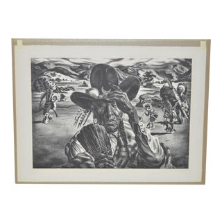 "1940 Vintage ""Comanche Portrait"" Pencil Signed Lithograph by Charles Banks Wilson"