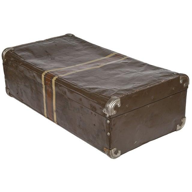 Vintage Dark Brown Striped Tin Suitcase - Image 4 of 5