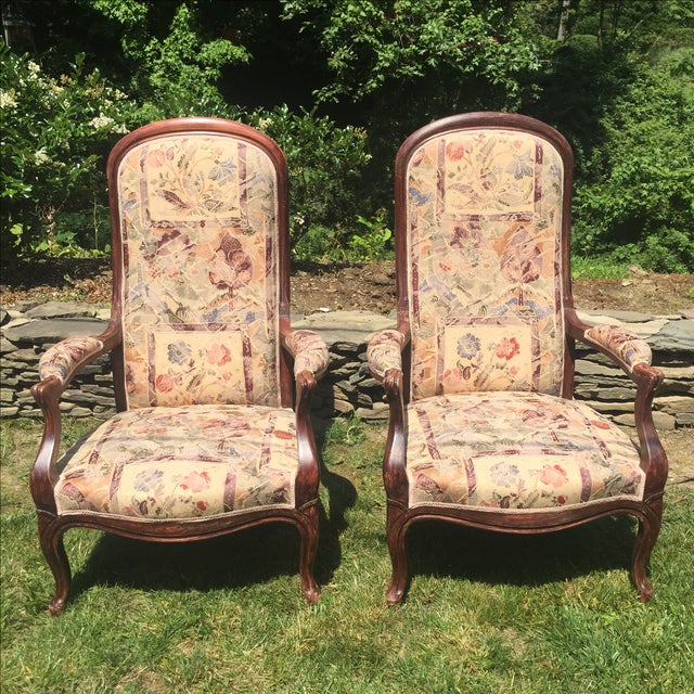Vintage Victorian High Back Parlor Chairs - A Pair - Image 2 of 11
