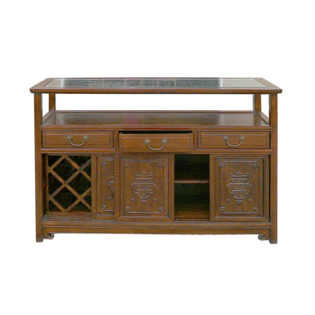 Chinese Glass Top High Credenza - Image 7 of 8