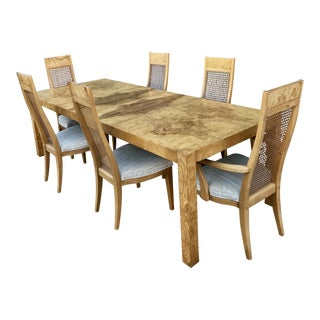 Milo Baughman Burl Parsons Dining Table and Six Chairs