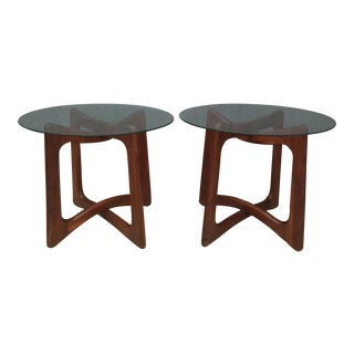 Adrian Pearsall Walnut & Glass Side Tables - Pair
