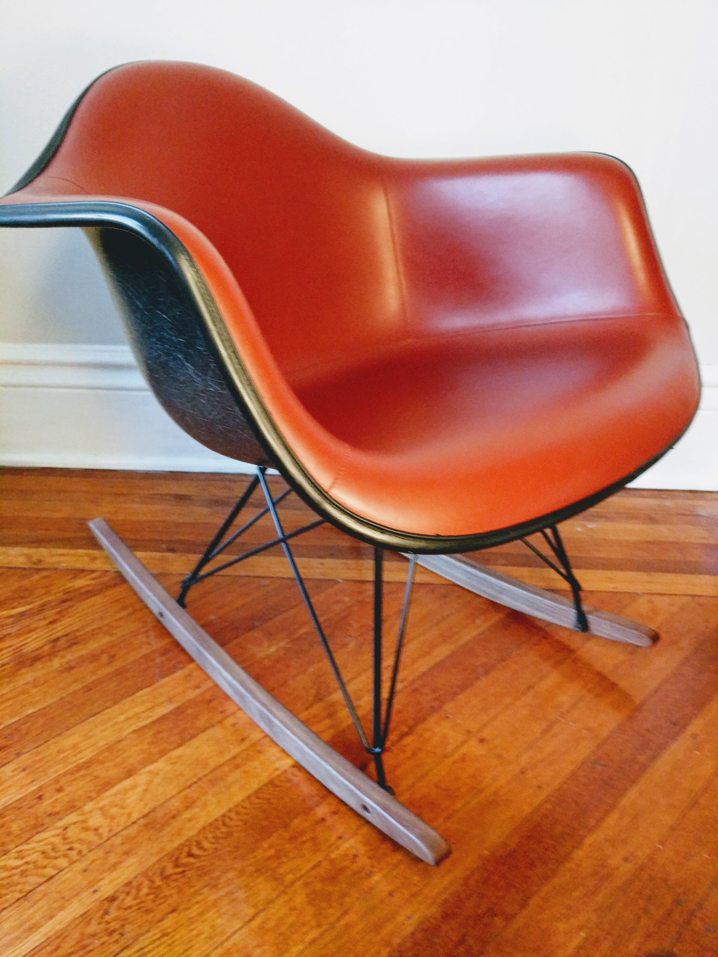 Eames For Herman Miller Armchair Rocker Rocking Chair Fiberglass Naugahyde    Image 8 Of 10
