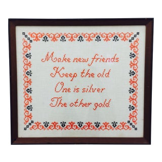 Vintage Framed Friends Cross Stitch