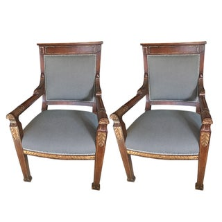 Hand-Carved Partner Chairs - A Pair