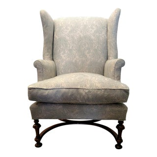 Vintage Wingback Chair with Wood Legs