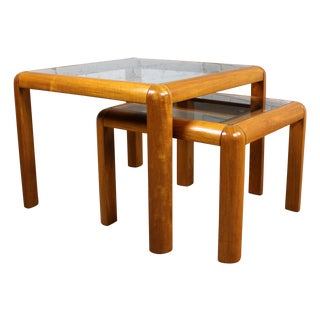 Danish Teak & Glass Square Nesting Tables - Pair