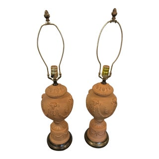 Terra Cotta Urn Form Table Lamps- A Pair