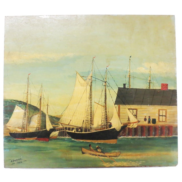 Image of J.Potter Ships at the Harbor Painting