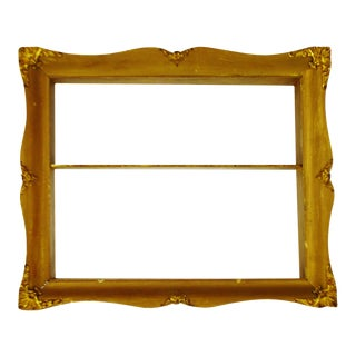 Early Gilt Gesso Shadow Box Wall Shelf with Brass Filigree Adornments