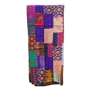 Handmade Woven Silk Sari Pieces Kantha Quilt